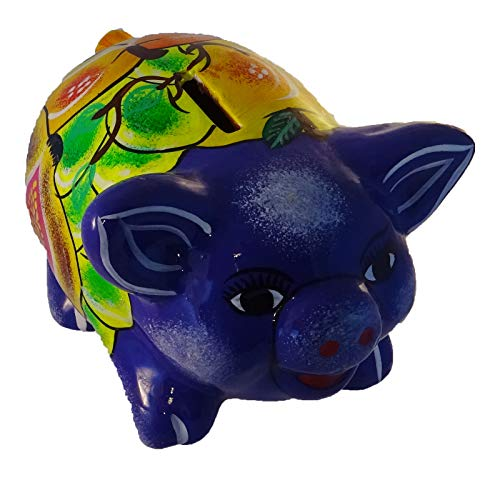 Talavera Pottery Pig Piggy Bank with Removable Plug on Bottom (#4 Lavender w ()