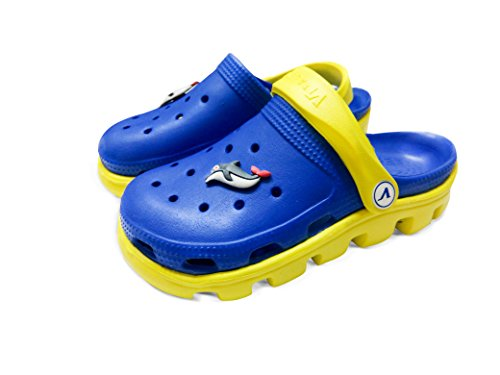 V Italia Blue Yellow Kids Clogs With Jibbets Outdoor Size 4-5 - Image 1