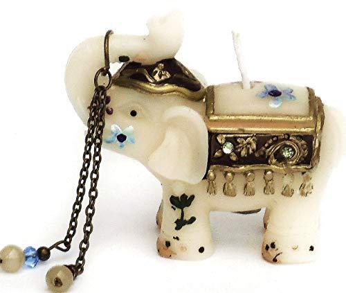 - Hand Painted Small Ivory Elephant Candle with Flowers Rhinestones Boho Bohemian Decor Indian Decorations
