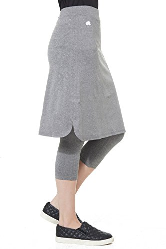 Snoga Modest Workout Athleisure Skirt with 3/4 Leggings Grey, 1X
