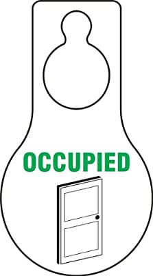 "Accuform Signs TAD608 Plastic Shaped Door Hanger Tags, Legend OCCUPIED with Graphic, 9"" Length x 5"" Width x 0.015"" Thickness, Green/Black on White (Pack of 10)"