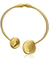 Kenneth Jay Lane Satin Gold Disc Ends Collar Necklace