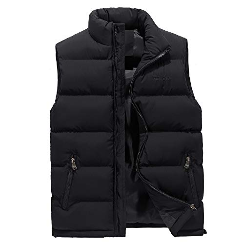 YOcheerful Men Vest Autumn Winter Solid Waistcoat Vest Outerwear Jacket Coat Gilet Sleeveless Top Blouse ()