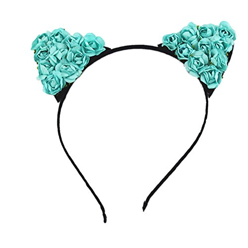 Song Devil Cat Ears Flower Headband Anime Cosplay Costume Hair Accessories (Blue Cat Costume)