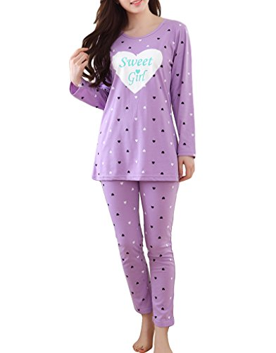 Juniors Baby Jersey T-shirt - MyFav Girls' Comfy Sleepwear Hearts Shape Pajama Set Sweet Dream Leisure Nighty