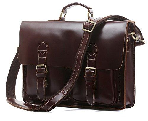 Everdoss Herren echt Leder Vintag Umhängetasche Schultertasche Messenger Bag Handtasche (Rot Wein) Rot Wein