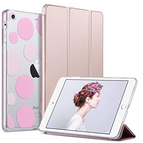 iPad Mini 3 Case,iPad Mini 2 Case,iPad Mini Case,ULAK Slim Bumper Smart Case Stand for Apple iPad Mini 1/2/3 Colorful Clear Back Cover Lightweight with Auto Sleep/Wake Function, Rose Gold