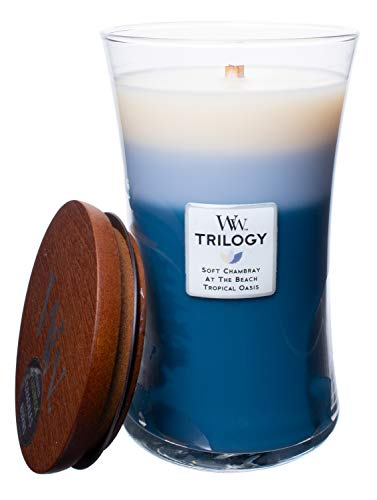 WoodWick WW Trilogy Beachfront Cottage, 3-in-1 Highly Scented Candle, Classic Hourglass Jar, Large 7-inch, 21.5 OZ