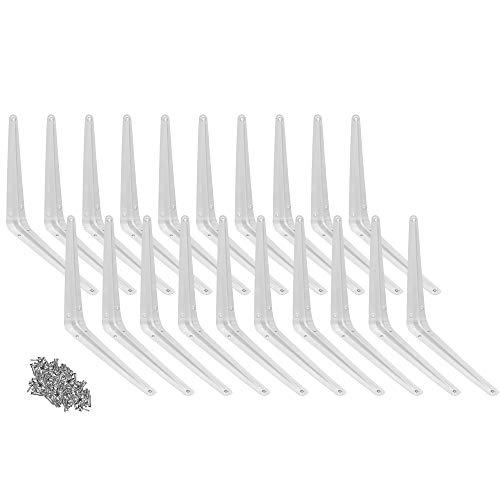 "Wideskall Metal 10"" x 12"" inch Wall Corner Angle Shelving Shelf Brackets, White, Pack of 20"