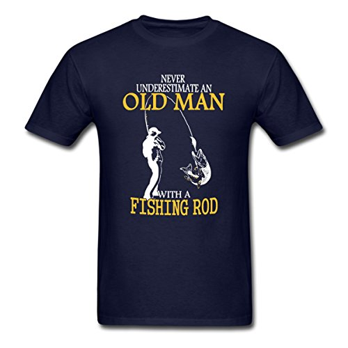 Spreadshirt Never Underestimate an Old Man Fishing Men's T-Shirt, 3XL, Navy ()