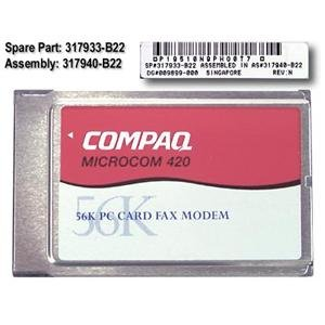 Compaq 56K V.90 PCMCIA Card Microcom Fax Modem with cable - New - 317900-001
