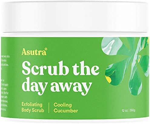 ASUTRA Dead Sea Salt Body Scrub Exfoliator (Cooling Cucumber), 12 oz | Ultra Hydrating, Gentle, Moisturizing | All Natural & Organic Jojoba, Sweet Almond, Argan Oils