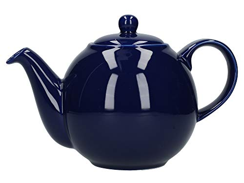 London Pottery Globe Large Teapot with Strainer, Ceramic, Cobalt Blue, 8 Cup (2.4 Litre)