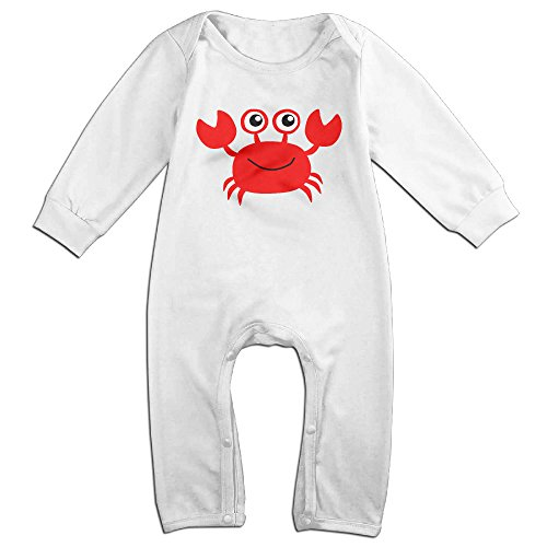 HOHOE Newborn Babys Cute Red Crab Long Sleeve Bodysuit Outfits White 12 Months