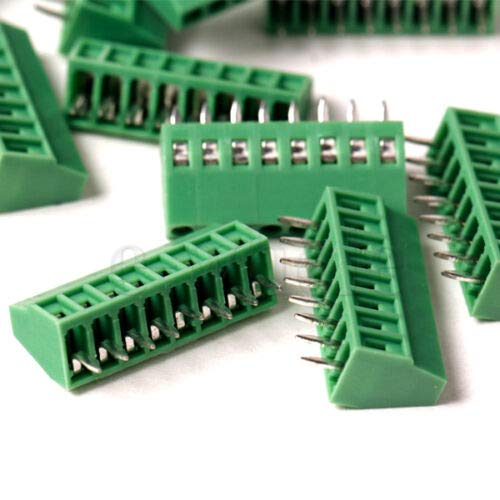 "DBParts 5pcs 8-Pin (8 Pole) Plug-in Screw Terminal Block Connector 2.54mm 0.1"" Pitch Panel PCB Mount DIY"
