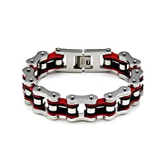 Metals Type:Stainless Steel Style:Punk Material:Metal color:Black Gold Orange Yellow Blue White Green Purple Gender:Men Chain Type:Link Chain Shape\pattern:Round Item Type:Bracelets Width:16mm length:18/19/20.5/21.5/23/24.5CM Clasp Type:LOBST...