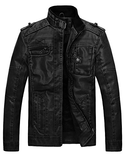 Wantdo Mens Vintage Stand Collar Faux Leather Jacket,Black,US Medium