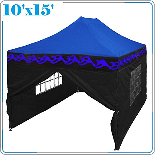 DELTA Canopies 10'x15' Ez Pop Up Canopy Party Tent Instant Gazebos 100% Waterproof Top with 4 Removable Sides Blue Flame - E Model