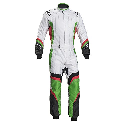 Sparco X-Light KS-7 Kart Racing Suit 002336 (Size: 140, White/Green) -