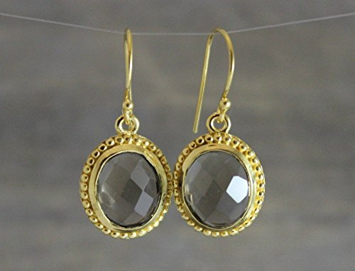 Smoky Quartz Oval Gold Plated Sterling Silver Earwires Earrings Graduation gift idea (Quartz Ring Smokey Oval)