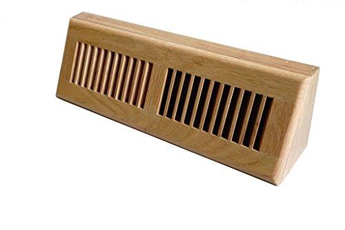WELLAND 15 Inch Red OakHardwood Vent Baseboard Diffuser Wall Register Clear (Base Vent Wood Register)