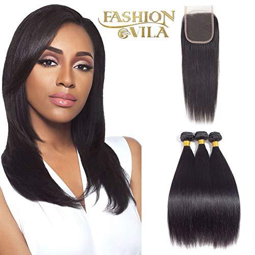 Fashion Vila Brazilian Straight Hair 3 Bundles with Closure,(10 12 14+10