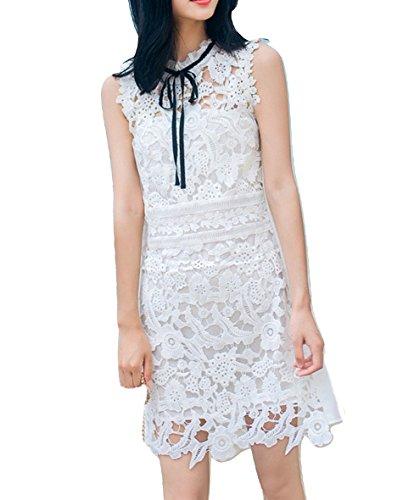 celebritystyle White/Black Crochet Lace Tie Front Dress (L, (Bcbg Crochet Dress)
