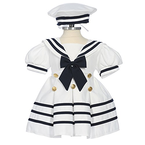 Good Fancy Dress Outfits (Baby Girls White Navy Bow Dress Hat Sailor Outfit 18-24M)