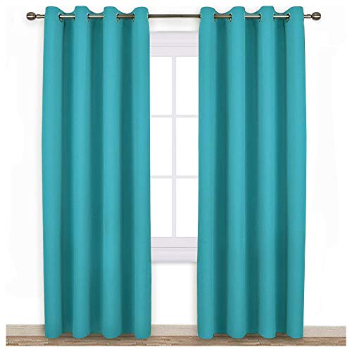 NICETOWN Living Room Blackout Curtains - Window Treatment Thermal Insulated Solid Grommet Blackout Panels/Drapes for Nursery (Turquoise=Light Blue, Set of 2 Panels, 52 by 95 Inch)