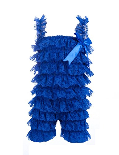 Baby Girls Bowknot Lace Folds Romper and Headband (M(6-12month), - Dress Girls Ruffle Blue