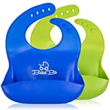 Silicone Baby Bibs for Boy or Girl: Waterproof Feeding Bib for Babies - 2 Pack