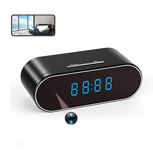 Hidden Spy Camera Clock WiFi 1080P Mini Camera with Night Vision/Motion Detection/Loop Recording/USB Rechargeable