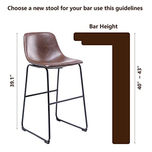 Kitchen TAVR PU Leather Bar Stools with Back and Footrest Set of 2 Brown Modern Bar Stool Chair Height for Pub Coffee Home… modern barstools