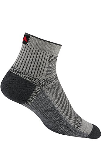 Wigwam Men's Ultra Cool-Lite Ultimax Ultra-Lightweight Quarter Sock, Grey, Large with a Helicase brand sock ring