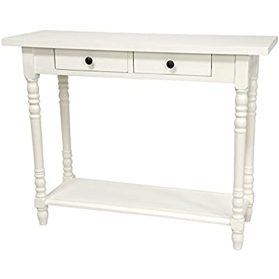 "ORIENTAL FURNITURE 29"" Classic 2 Drawer Foyer Table - White - 37.75"" w by 13.75"" d by 29.75"" h, choose black, white or cherry stain wood finish Asian style extra wide heavy cantilevered top with double drawers, simple assembly European design block and baluster lathe turned legs, heavy low shelf reinforces the legs - living-room-furniture, living-room, console-tables - 41mV6GpSQtL. SS400  -"
