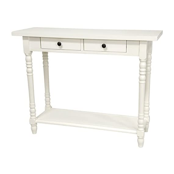"Oriental Furniture 29"" Classic 2 Drawer Foyer Table - White - 37.75"" w by 13.75"" d by 29.75"" h, choose black, white or cherry stain wood finish Asian style extra wide heavy cantilevered top with double drawers, simple assembly European design block and baluster lathe turned legs, heavy low shelf reinforces the legs - living-room-furniture, living-room, console-tables - 41mV6GpSQtL. SS570  -"