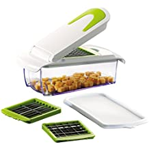 Vegetable and Fruit Chopper with 3 Stainless Steel Blades, Adjustable Slicer & Dicer With Storage Container and Non-Skid Base, by Tiabo