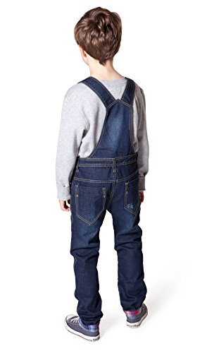 Big Boys Darkwash Denim Bib Overalls Boys Blue Slim Leg