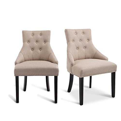Cheap HOMCOM Modern Fabric Wingback Dining Chairs with Tufted Buttons – Soft Beige- Set of 2 Chairs