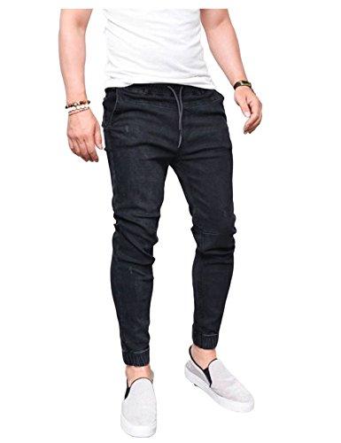 Slim Largo Negro Fit Hombres Jueshanzj Jeans xtq58vw6