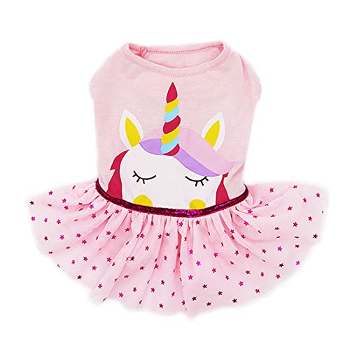 (kyeese Dog Unicorn Dresses Pink Pet Clothes for Small Dogs Skirt Vest Shirt)
