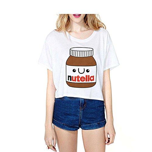 CHIC Harajuku Summer Sexy Crop Top Emoji Nutella Girls Casual Short Sleeve T-shirt