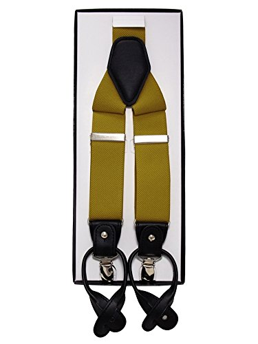 Y - Style Button fastening And Metal Clip Convertible Suspender (Mustard) (Button Style Clip)