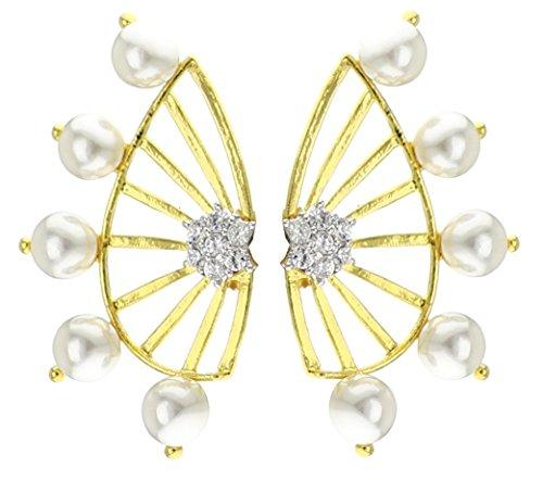 Youbella Gold Plated Pearl Ear Cuffs Earrings For Women