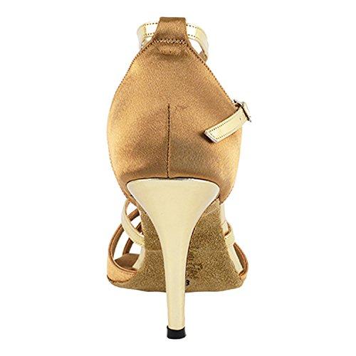 Party Party 2829ledss Confort Robe De Soirée Sandales À Pompe, Chaussures De Danse De Salon Pour Femmes (talons Hauts De 2,75, 3 Et 3,5) 2829- Satin Marron Et Garniture Dorée