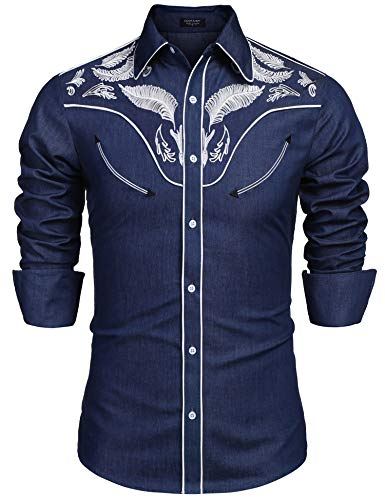 COOFANDY Mens Embroidered Fashion Floral Shirts Denim Long Sleeve Shirt, Dark Blue, Medium