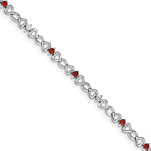 (925 Sterling Silver (0.006cttw) Garnet and Diamond Bracelet -7