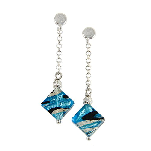 Sterling Silver Rolo Ring - Woman's earrings with Murano glass bead mounted on a 925 rhodium silver rolo chain. OCR068-W01