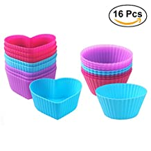 BESTOMZ Cupcake Molds Silicone Cupcake Baking Cups Reusable Non-Stick Cupcake Maker for DIY Muffin Bread Chocolate Candy 16PCS