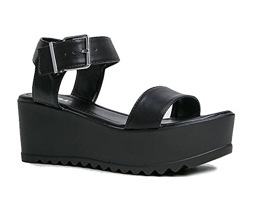 Women's Platform Buckle Sandal - Open Peep Toe Fashion Chunky Ankle Strap Shoe - Surf by J Adams